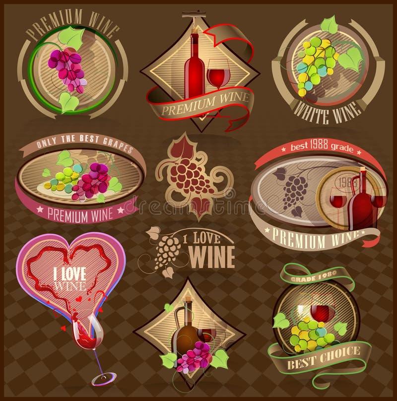 Sistema de las etiquetas retras para el vino ilustración del vector