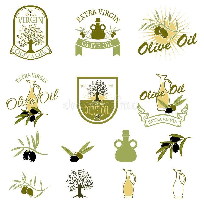 Sistema de las etiquetas y de las insignias del aceite de oliva aisladas en el fondo blanco ilustración del vector