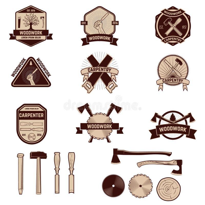 Sistema de las etiquetas y de los emblemas de la carpintería Artesanías en madera stock de ilustración