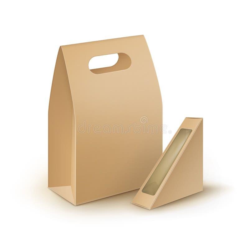 Sistema de las fiambreras de la manija de la cartulina para el bocadillo libre illustration