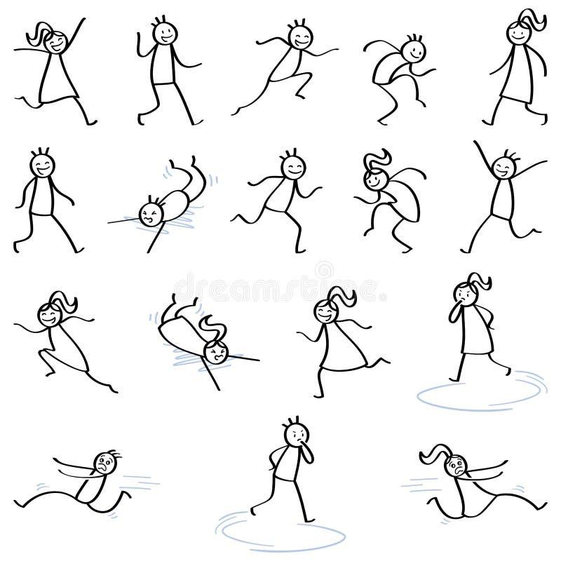 Sistema de las figuras del palillo, gente del palillo que corre, mujeres caminando, cayendo, feliz hombres y que sonríen y que rí ilustración del vector