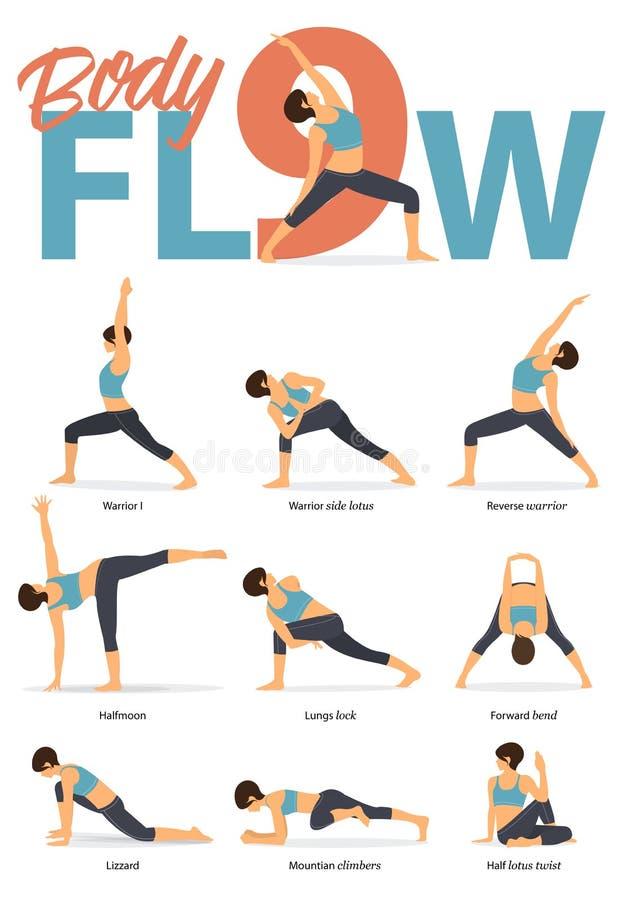 Sistema de las figuras femeninas de las posturas de la yoga para Infographic 9 actitudes de la yoga para el flujo del cuerpo en d libre illustration