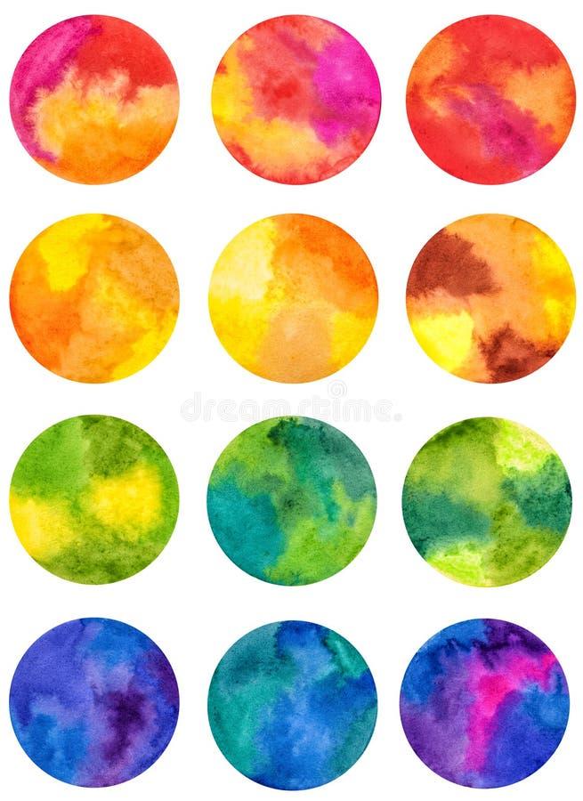 Sistema de las figuras geométricas coloreadas acuarela círculos en el papel mojado libre illustration
