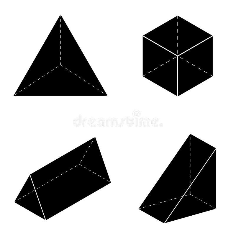 Sistema de las formas geométricas básicas 3d Vector geométrico de los sólidos aislado en un fondo blanco stock de ilustración