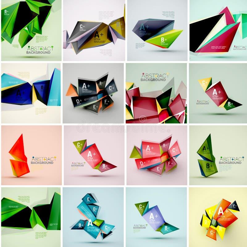 Sistema de las formas geométricas 3d del triángulo Información moderna libre illustration