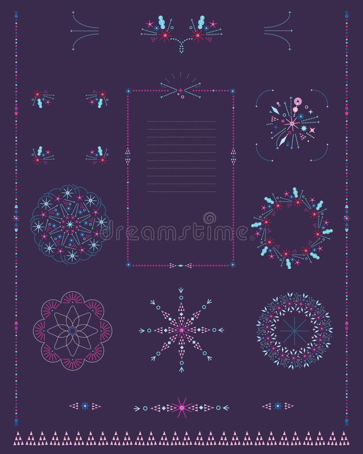 Sistema de las fronteras decorativas, marcos, rosetones de elementos microscópicos finos stock de ilustración