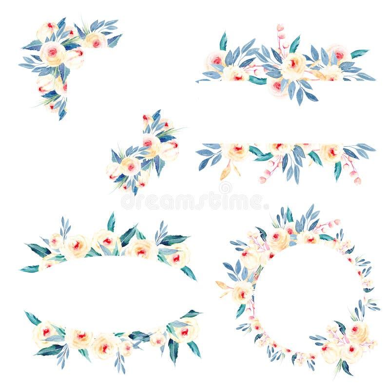 Sistema de las fronteras del marco de rosas, de hojas del azul y de ramas rosadas ilustración del vector