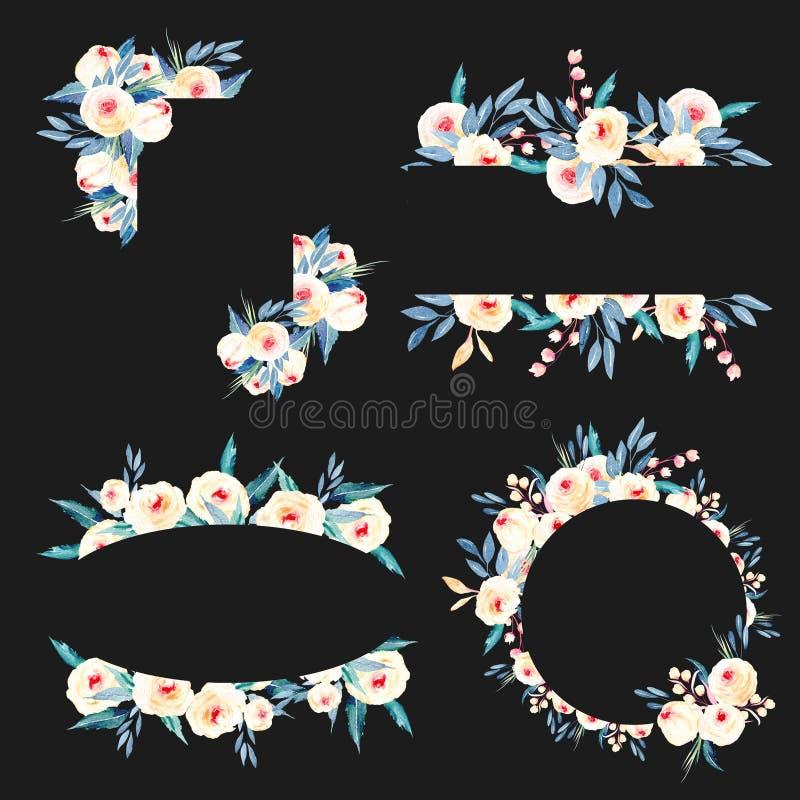 Sistema de las fronteras del marco de rosas, de hojas del azul y de ramas rosadas libre illustration