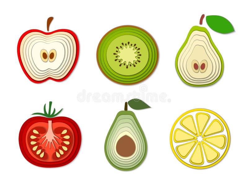 Sistema de las frutas y verduras de papel del corte, formas cortadas del vector estilo de papel abstracto del arte 3D, diseño de  ilustración del vector