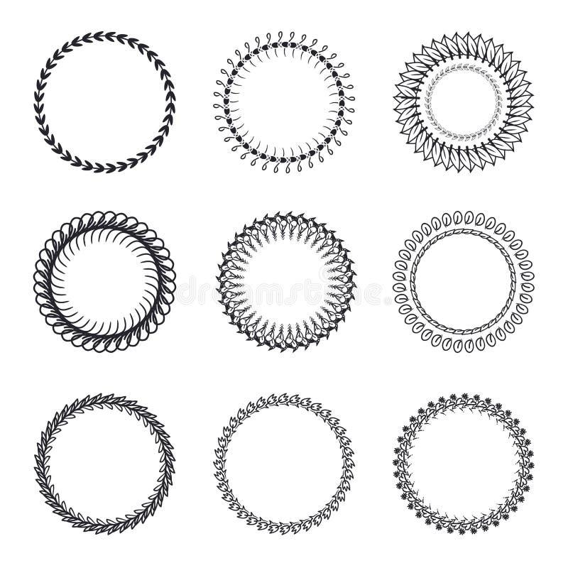 Sistema de las guirnaldas redondas, marcos Boda o invitación dibujada mano c ilustración del vector