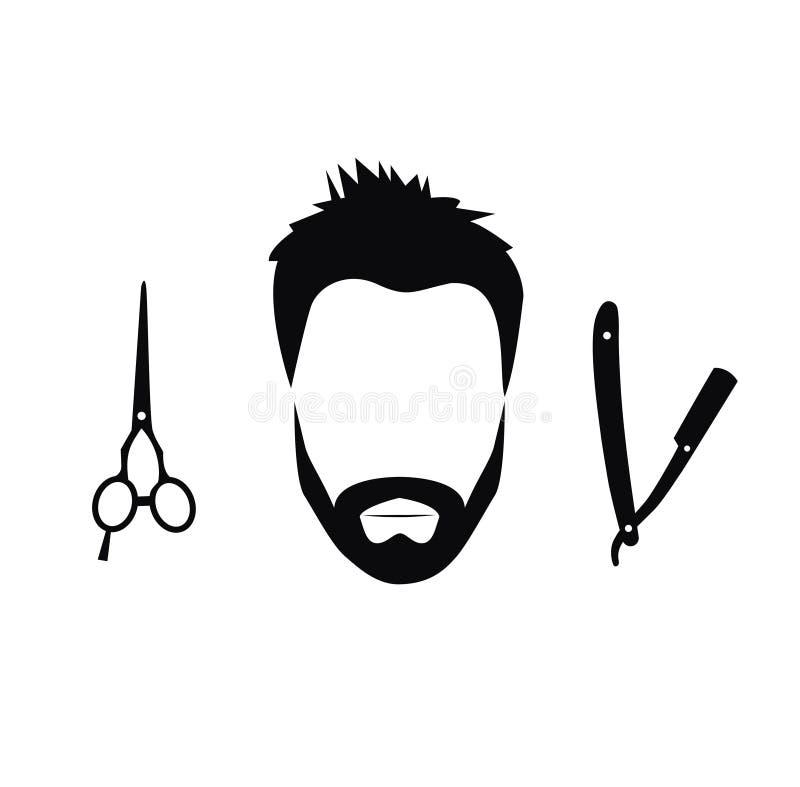 Sistema de las herramientas del peluquero para los hombres stock de ilustración