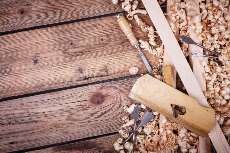 Sistema de las herramientas para la carpintería foto de archivo