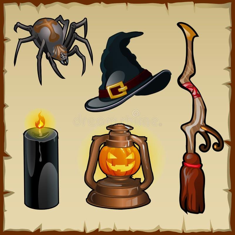 Sistema de las herramientas para las brujas, cinco artículos mágicos stock de ilustración
