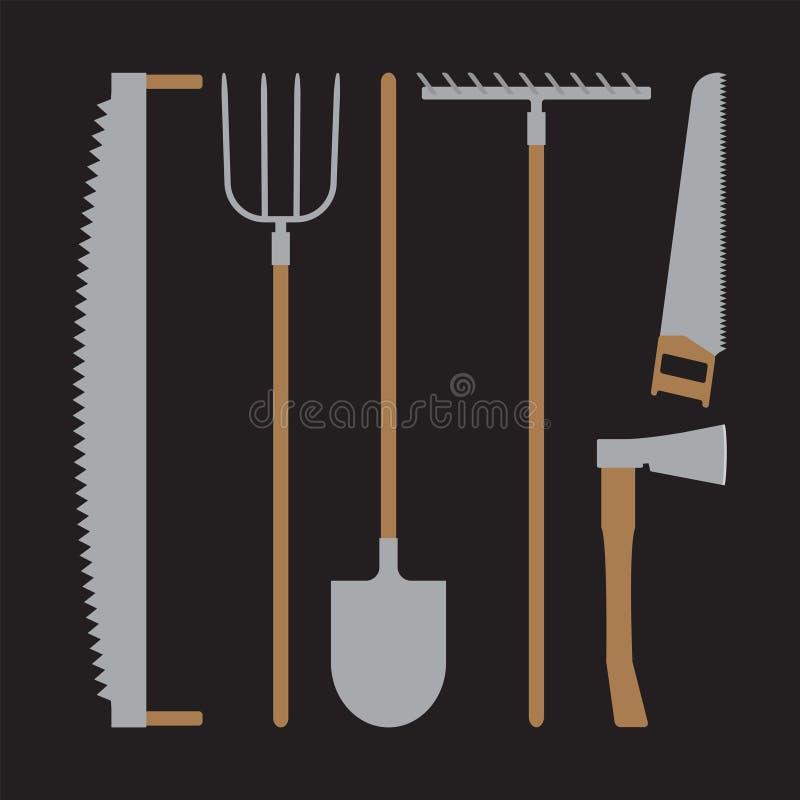 Sistema de las herramientas para los granjeros que cultivan en el estilo plano stock de ilustración