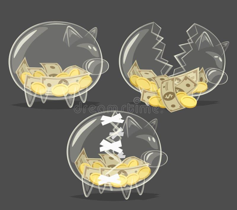 Sistema de las huchas de cristal stock de ilustración