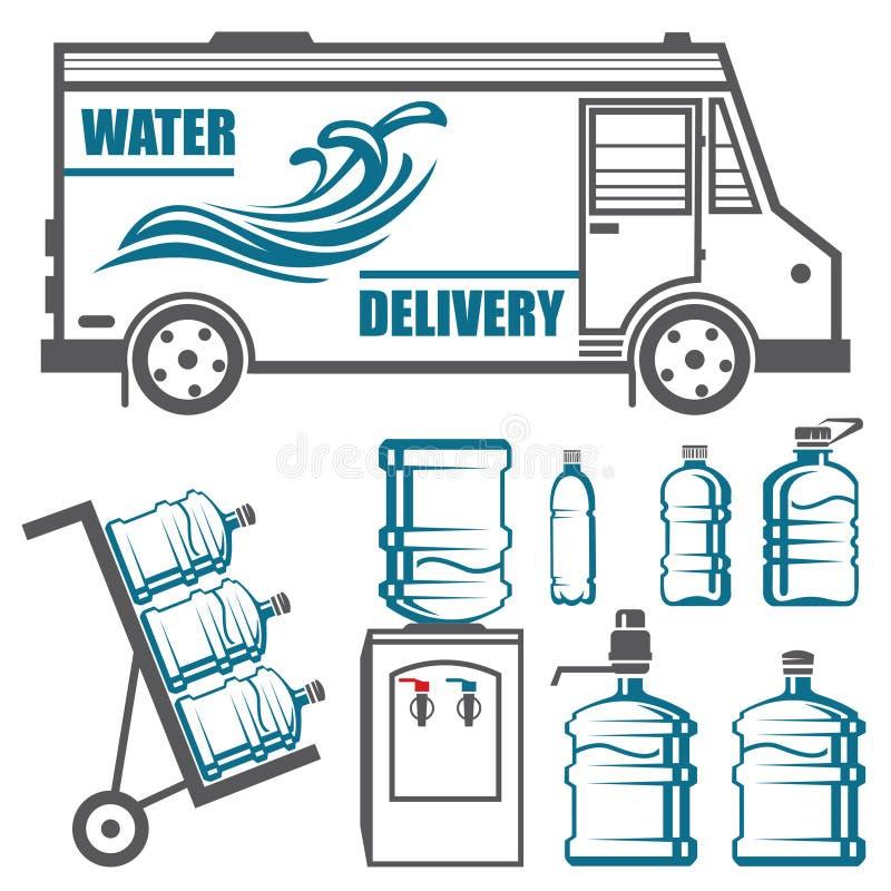 Sistema de las imágenes para la entrega del agua stock de ilustración