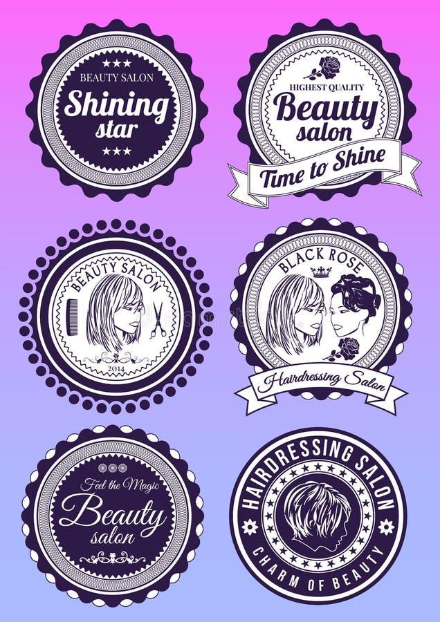 Sistema de las insignias para la belleza y los salones haidressing libre illustration