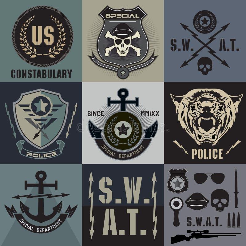Sistema de las insignias y del logotipo de la aplicación de ley de la policía ilustración del vector