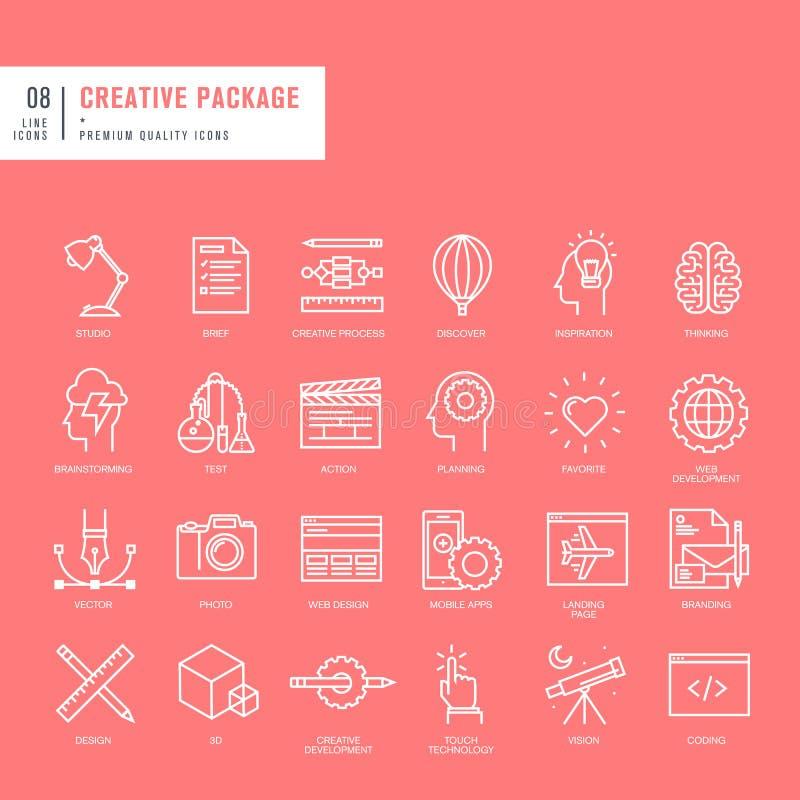 Sistema de las líneas finas iconos del web para el gráfico y el diseño web