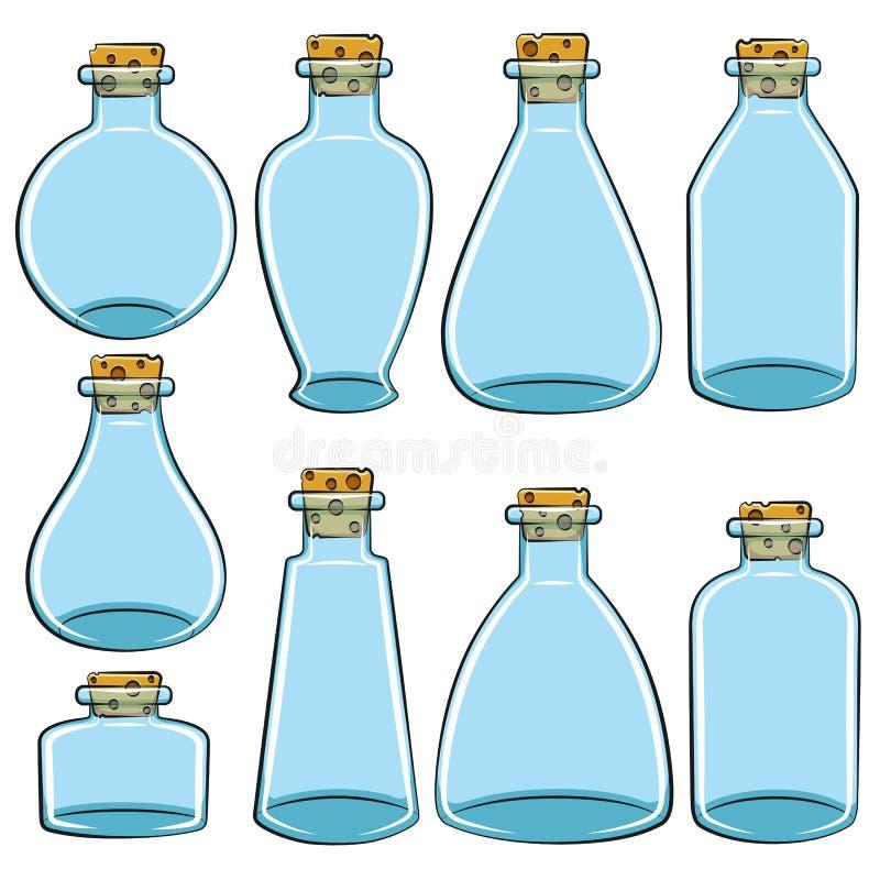Sistema de las latas del color, frascos, botellas libre illustration