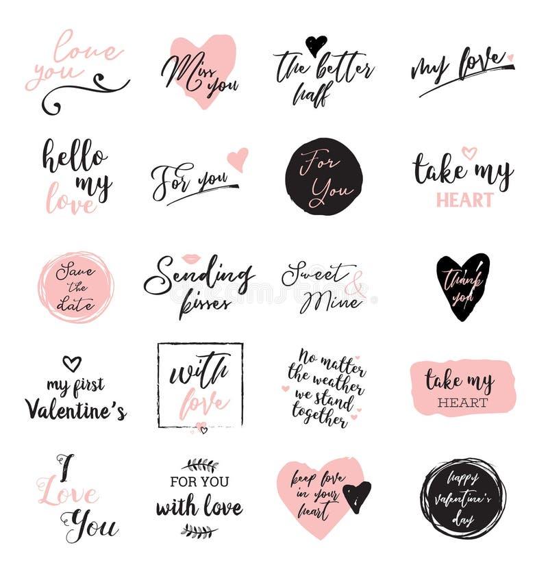 Sistema de las letras de amor negras, blancas y rosadas, porque del cartel del diseño del día de tarjetas del día de San Valentín ilustración del vector