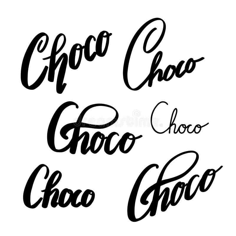 Sistema de las letras de Choco Caligraf?a del cepillo Inscripción del chocolate El objeto est? a parte del fondo Elemento de la T libre illustration