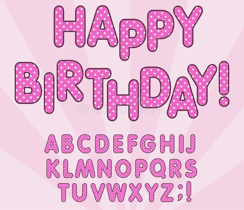 Sistema de las letras del alfabeto inglés de los lunares 3D Muñeca femenina de LOL, bandera del feliz cumpleaños, diseño del esti stock de ilustración