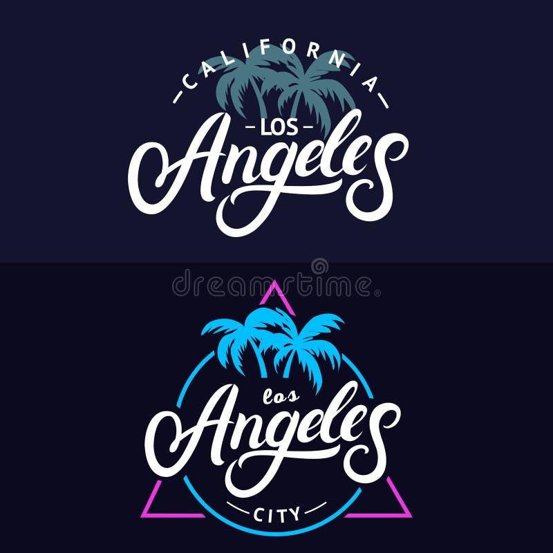 Sistema de las letras escritas mano para la tarjeta, diseño de Los Ángeles de la impresión de la camiseta ilustración del vector