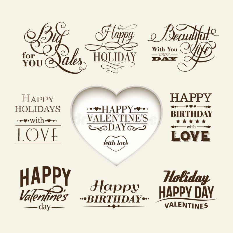 Sistema de las letras felices de la mano del día de tarjeta del día de San Valentín. stock de ilustración