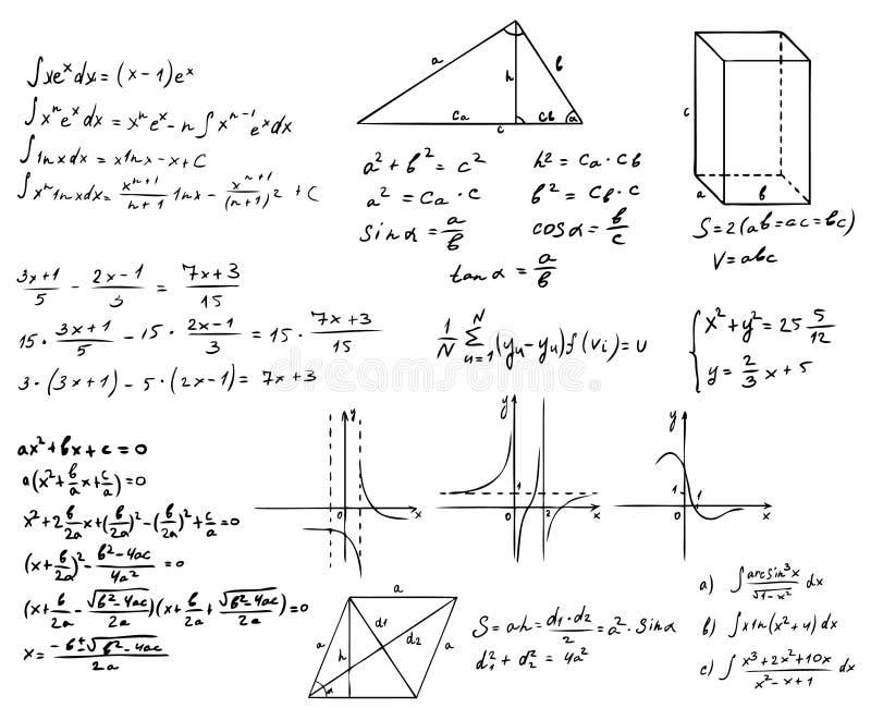 Sistema de las matemáticas y de la geometría stock de ilustración
