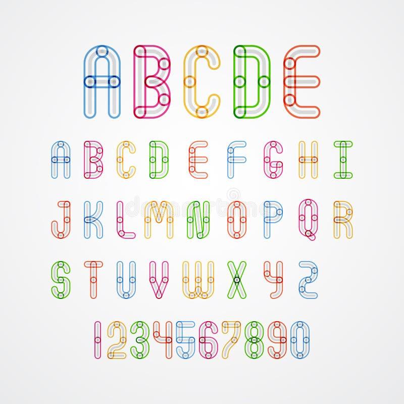 Sistema de las mayúsculas A a Z y números del alfabeto colorido libre illustration
