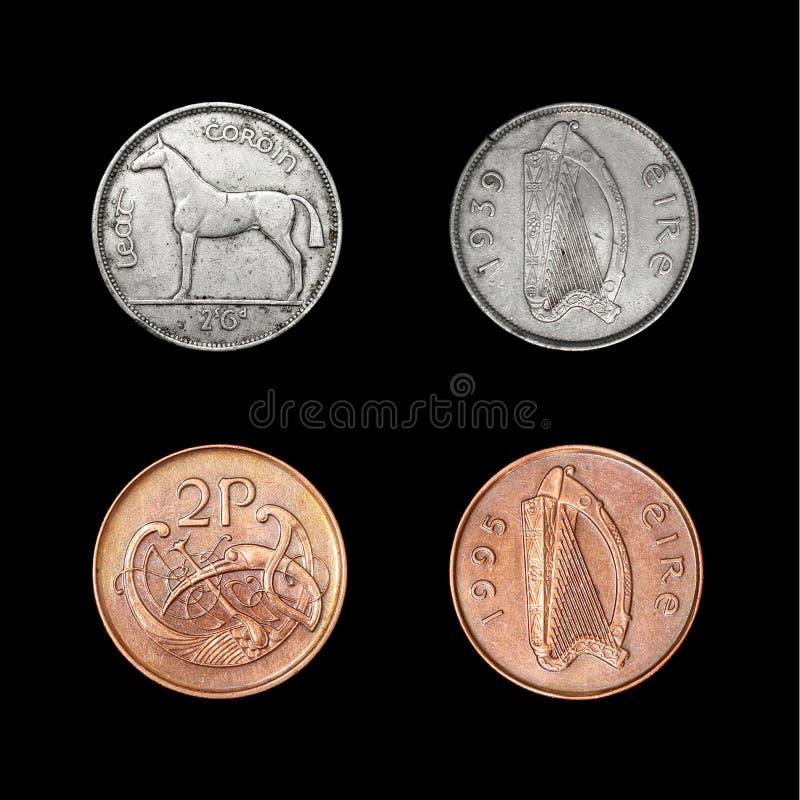 Sistema de las monedas de Irlanda imagenes de archivo