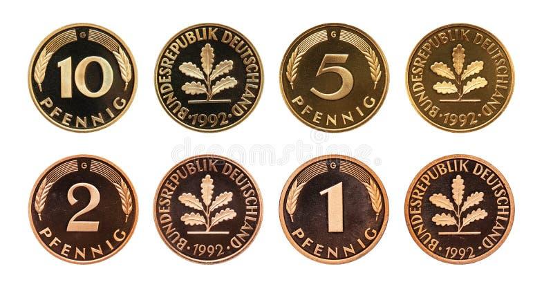 Sistema de las monedas de la marca alemana de Alemania, aislado en blanco imágenes de archivo libres de regalías