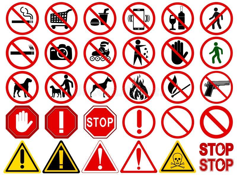 Sistema de las muestras para diversas actividades prohibidas ilustración del vector