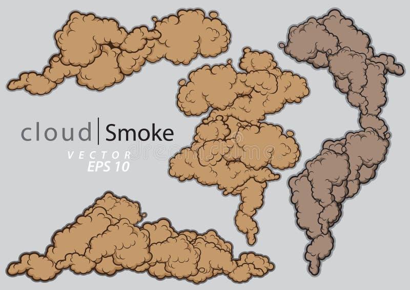 Sistema de las nubes del vapor Ejemplo del vector del humo de la historieta ilustración del vector
