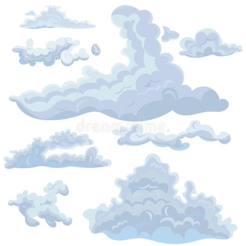 Sistema de las nubes de diversas formas Elementos del diseño para los diversos propósitos Gráficos de vector aislados en el fondo ilustración del vector