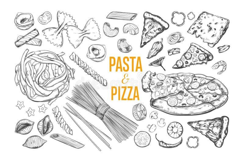Sistema de las pastas y de la pizza fotografía de archivo