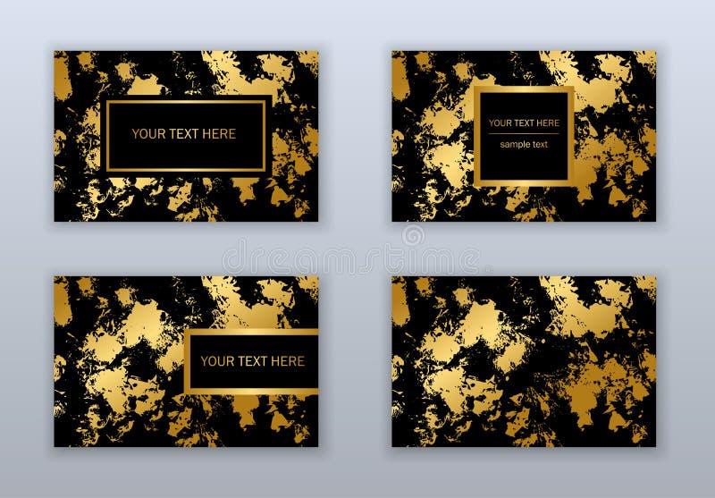 Sistema de las plantillas blancas, negras y del oro de visita de las tarjetas Ab moderno ilustración del vector