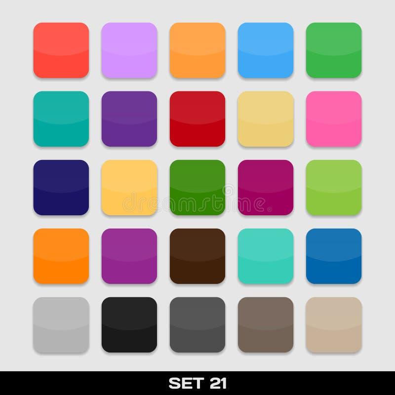 Sistema de las plantillas coloridas del icono del App, marcos, antecedentes. Sistema 21 stock de ilustración