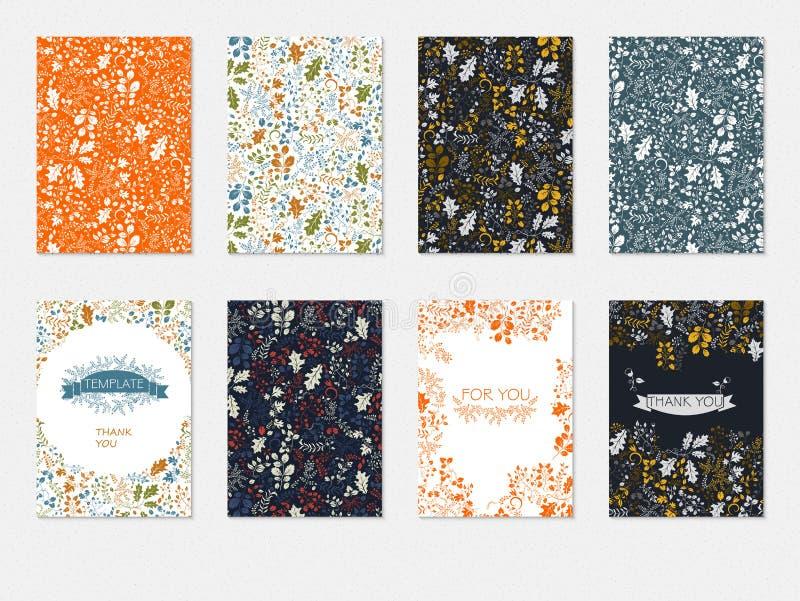 Sistema de las plantillas con el estampado de flores, espacios en blanco de las tarjetas, vector de los folletos de los aviadores libre illustration