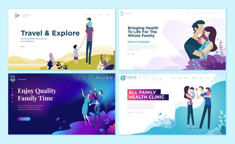 Sistema de las plantillas del diseño de la página web para la atención sanitaria, el viaje y disfrutar de la familia de actividad stock de ilustración