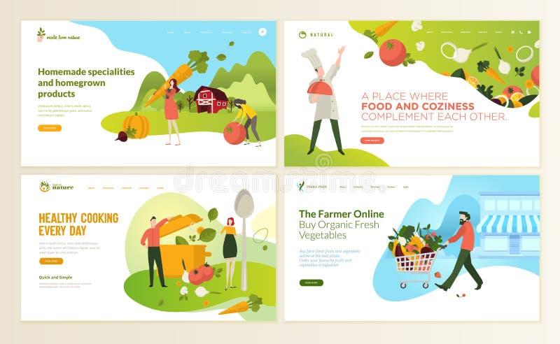 Sistema de las plantillas del diseño de la página web para la comida y la bebida, productos naturales, alimento biológico, restau ilustración del vector