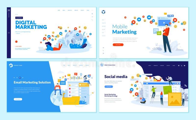 Sistema de las plantillas del diseño de la página web para los medios sociales, el márketing en línea y la comunicación ilustración del vector