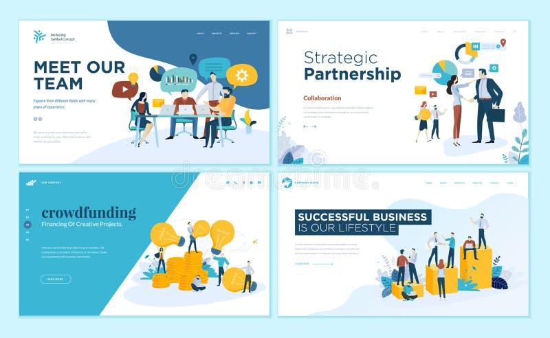 Sistema de las plantillas del diseño de la página web para nuestro equipo, reunión y reunión de reflexión, sociedad estratégica,  stock de ilustración