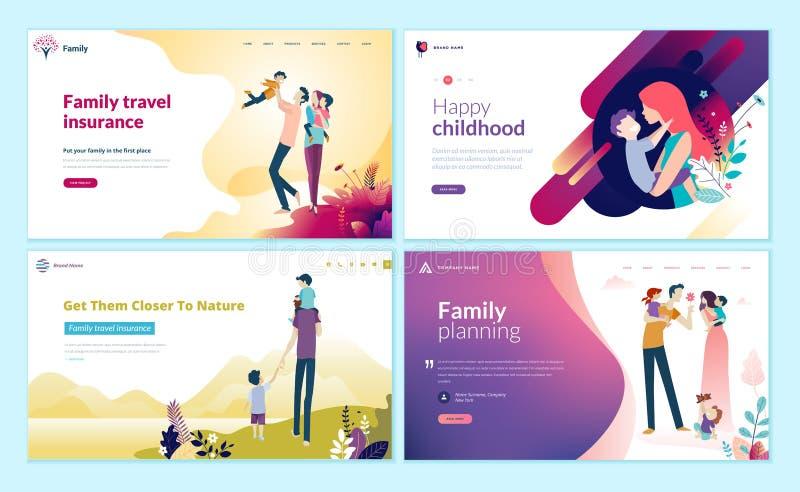 Sistema de las plantillas del diseño de la página web para la planificación familiar, el seguro del viaje, la naturaleza y la vid stock de ilustración