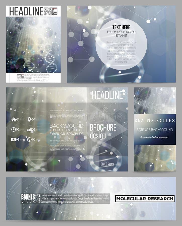 Sistema de las plantillas del negocio para la presentación, el folleto, el aviador o el folleto Estructura de la molécula de la D libre illustration