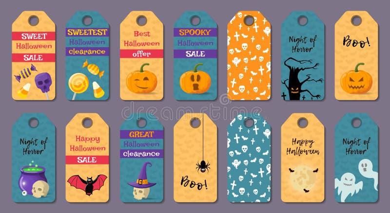 Sistema de las plantillas de Halloween de la historieta stock de ilustración