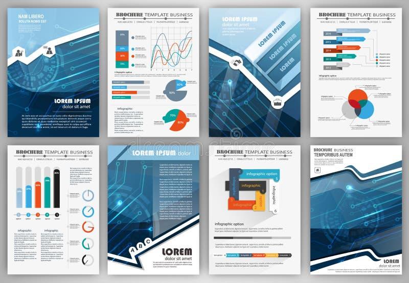 Sistema de las plantillas infographic de la presentación, folletos del negocio ilustración del vector