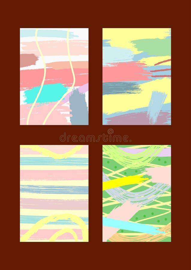 Sistema de las plantillas de moda para el diseño de fondos artísticos, tarjetas, cubiertas, aviadores libre illustration