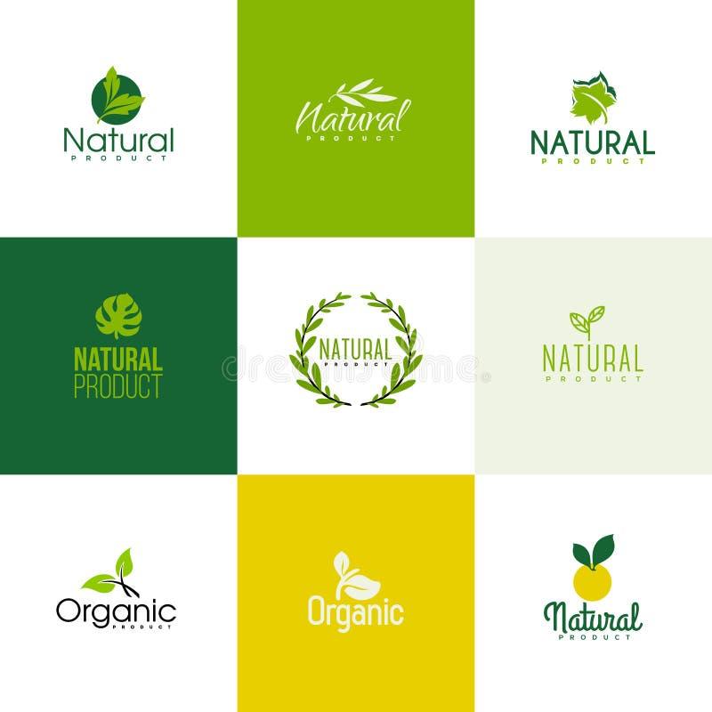 Sistema de las plantillas naturales y orgánicas del logotipo de los productos, iconos stock de ilustración